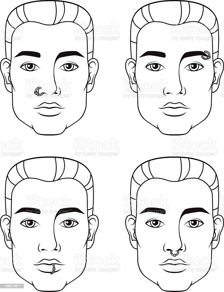 Facial Piercings: Male royalty-free stock vector art