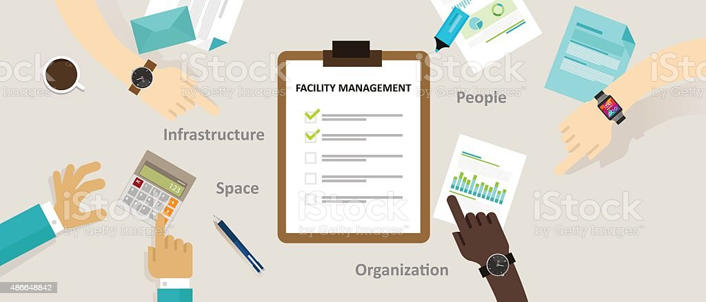 facility management facilities building maintenance service office vector art illustration
