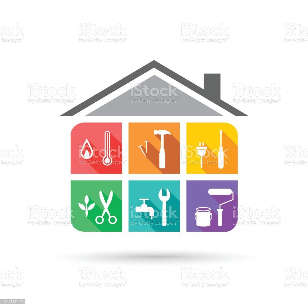 Facility management vector art illustration
