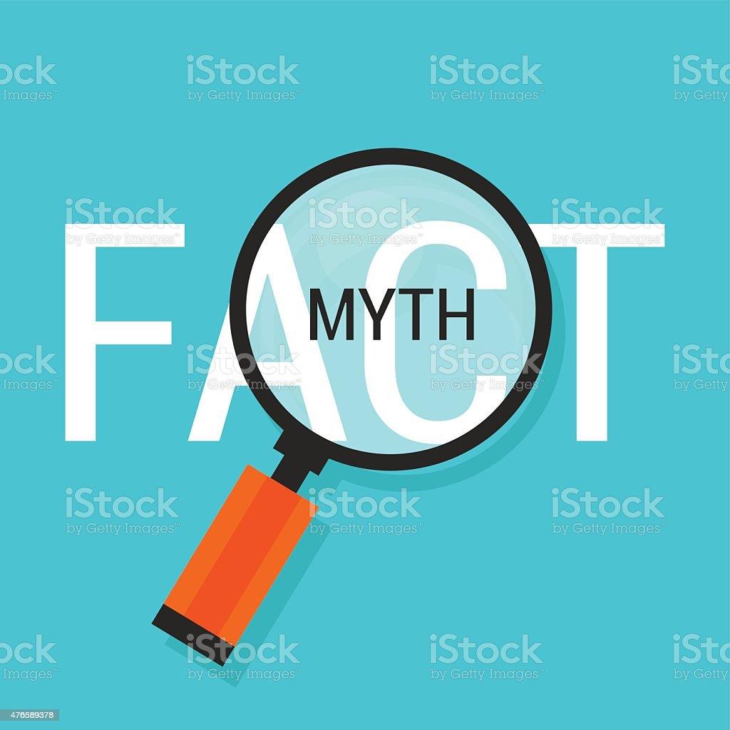 fact or myth fiction true vector art illustration