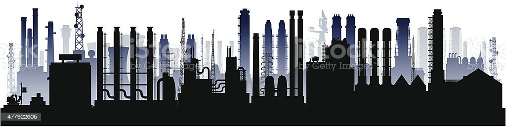 Factories (Each Building is Moveable and Complete) royalty-free stock vector art