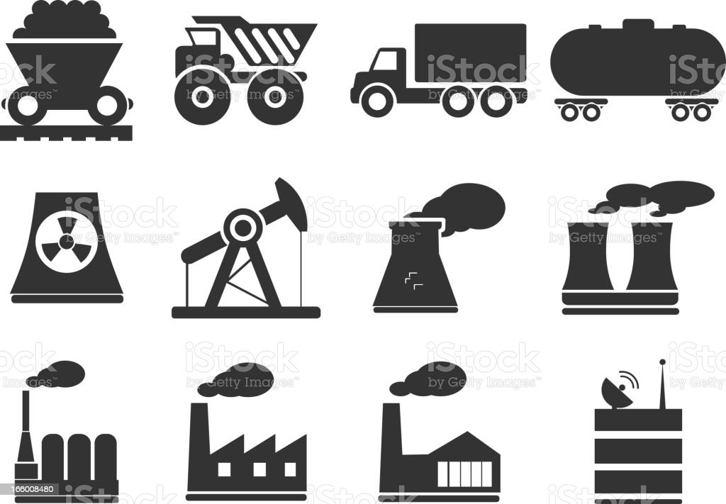 Factory and Industry Symbols vector art illustration