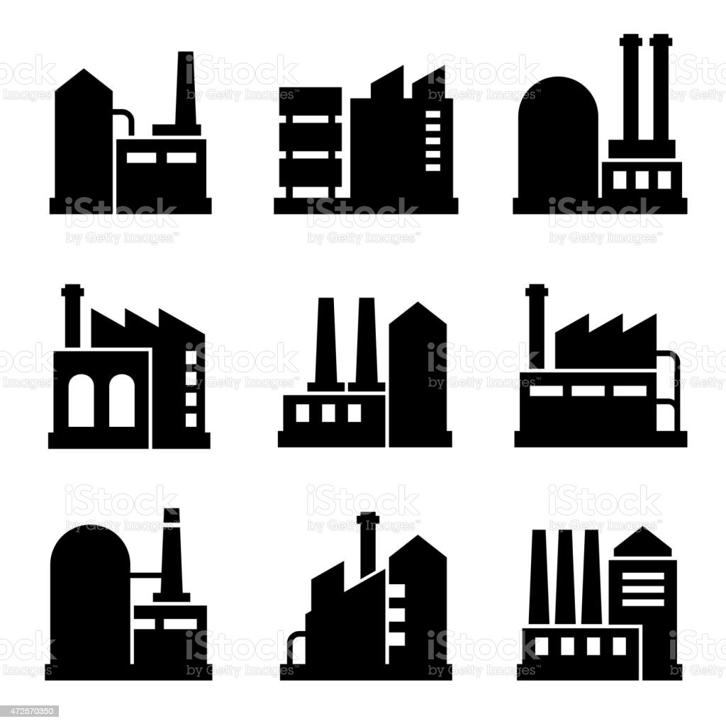 Factory and Power Industrial Building Icon Set 2. Vector vector art illustration