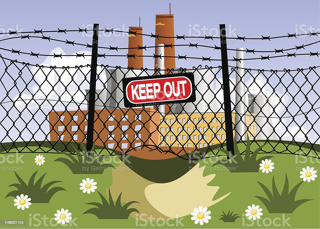 Factory and wire fence with barbed wires vector art illustration