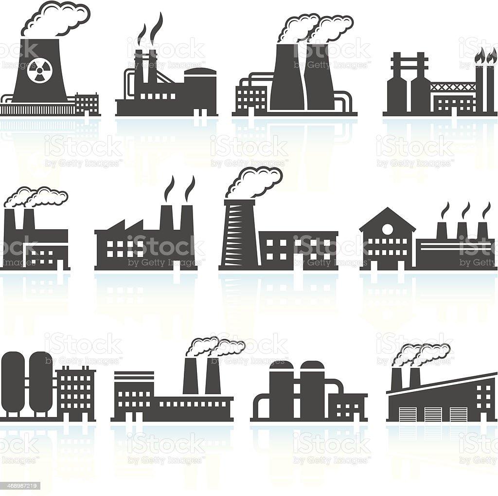 Factory Black & White royalty free vector arts Set vector art illustration