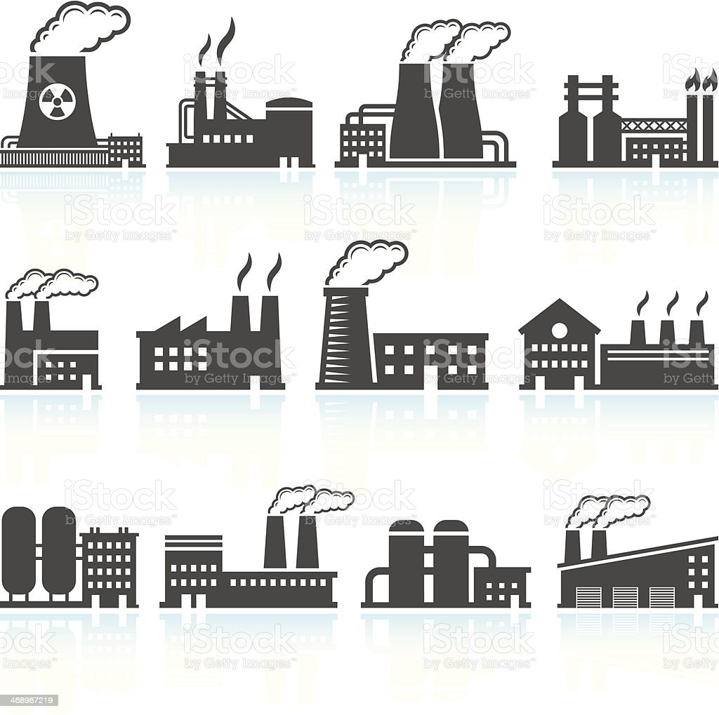 Factory Black & White royalty free vector arts Set vector art illustration