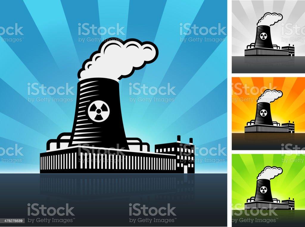 Factory Building Color Set vector art illustration