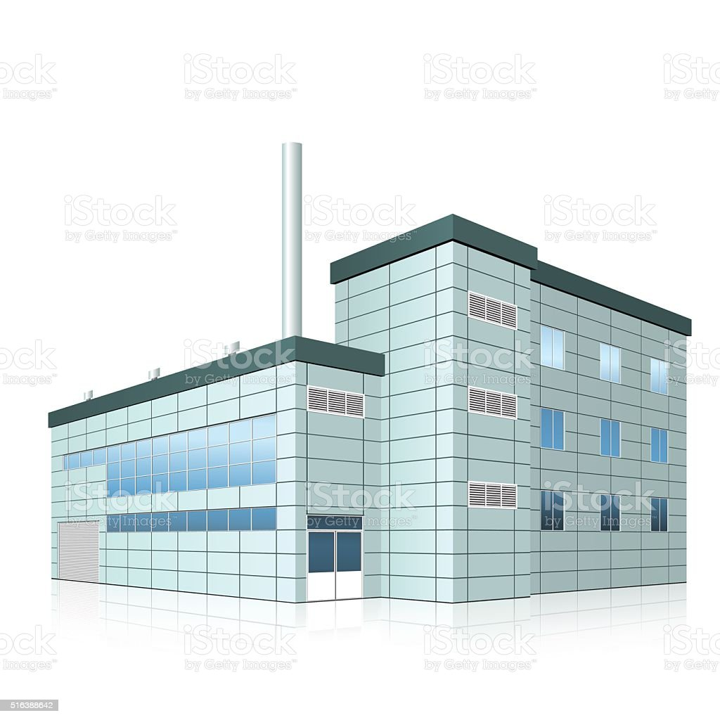 factory building with offices and production facilities vector art illustration