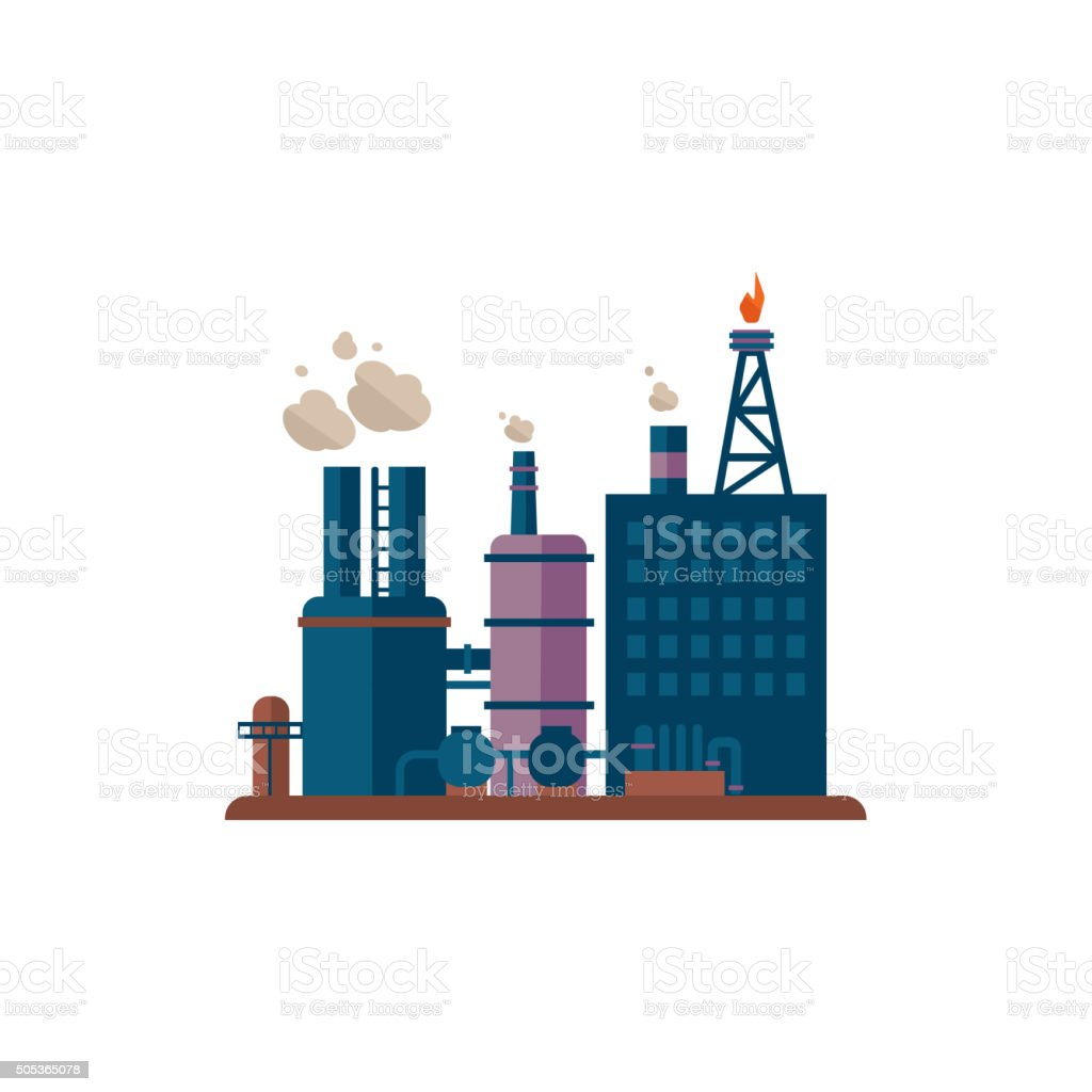 Factory Buildings Vector Illustration vector art illustration