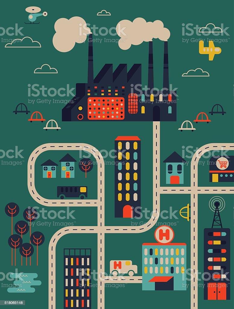 Factory & City vector art illustration