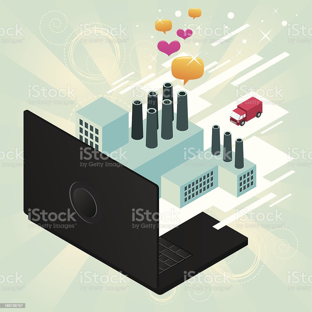 Factory coming out from a laptop royalty-free stock vector art