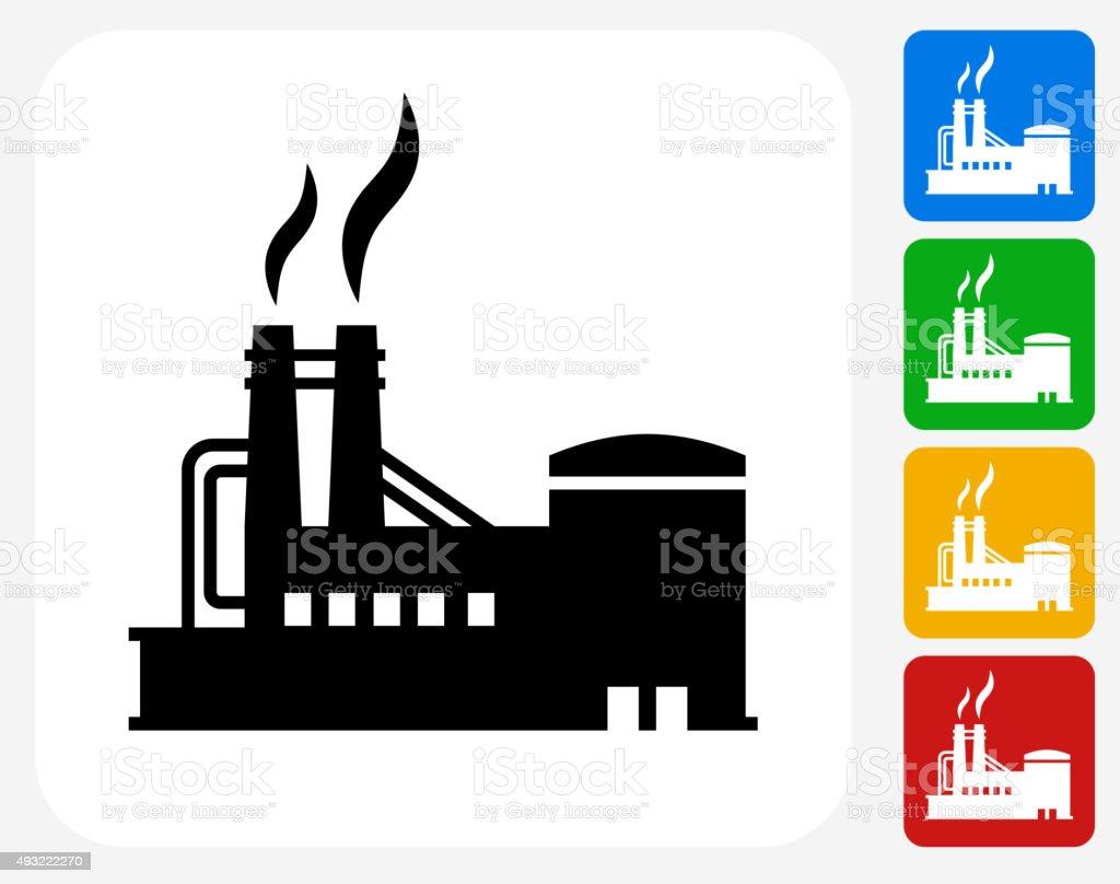 Factory Icon Flat Graphic Design vector art illustration