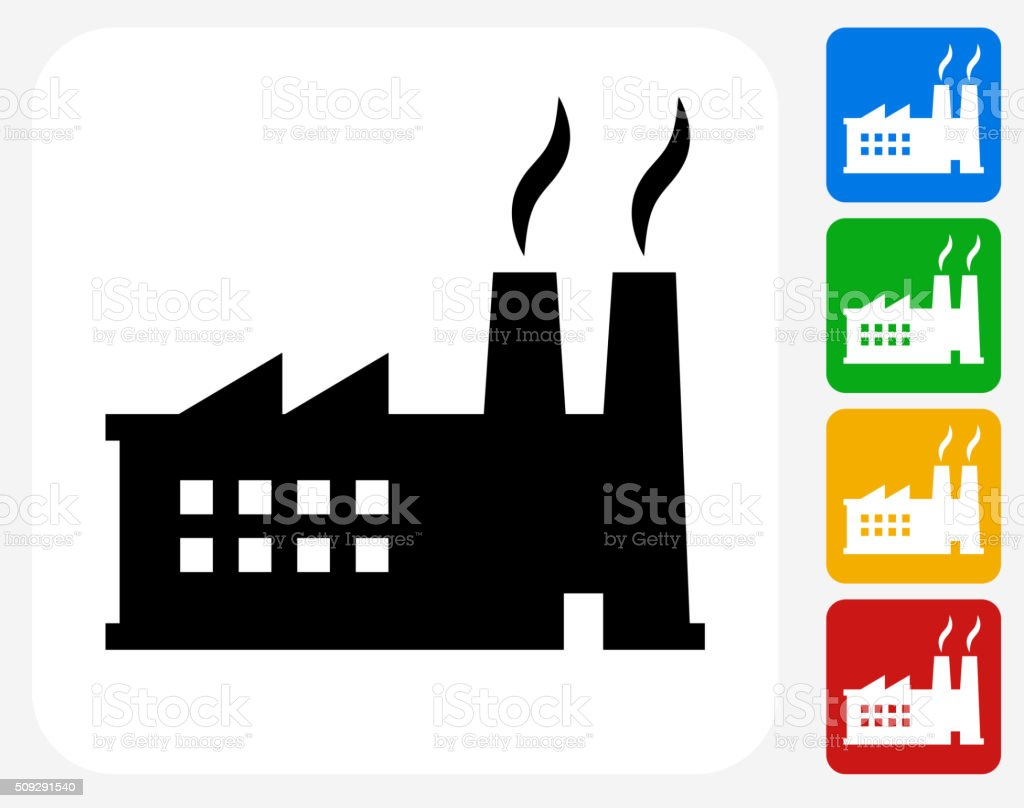 Factory Icon Flat Graphic Design vector art illustration