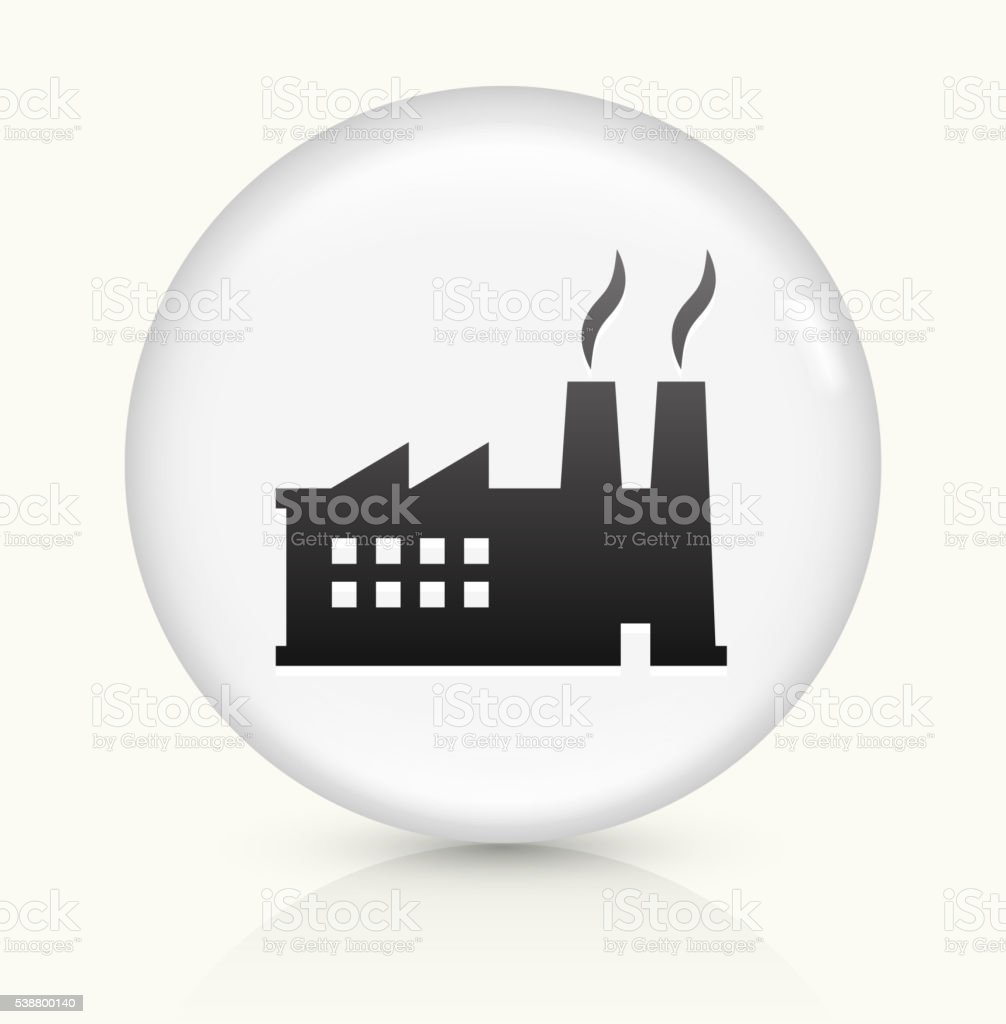 Factory icon on white round vector button vector art illustration