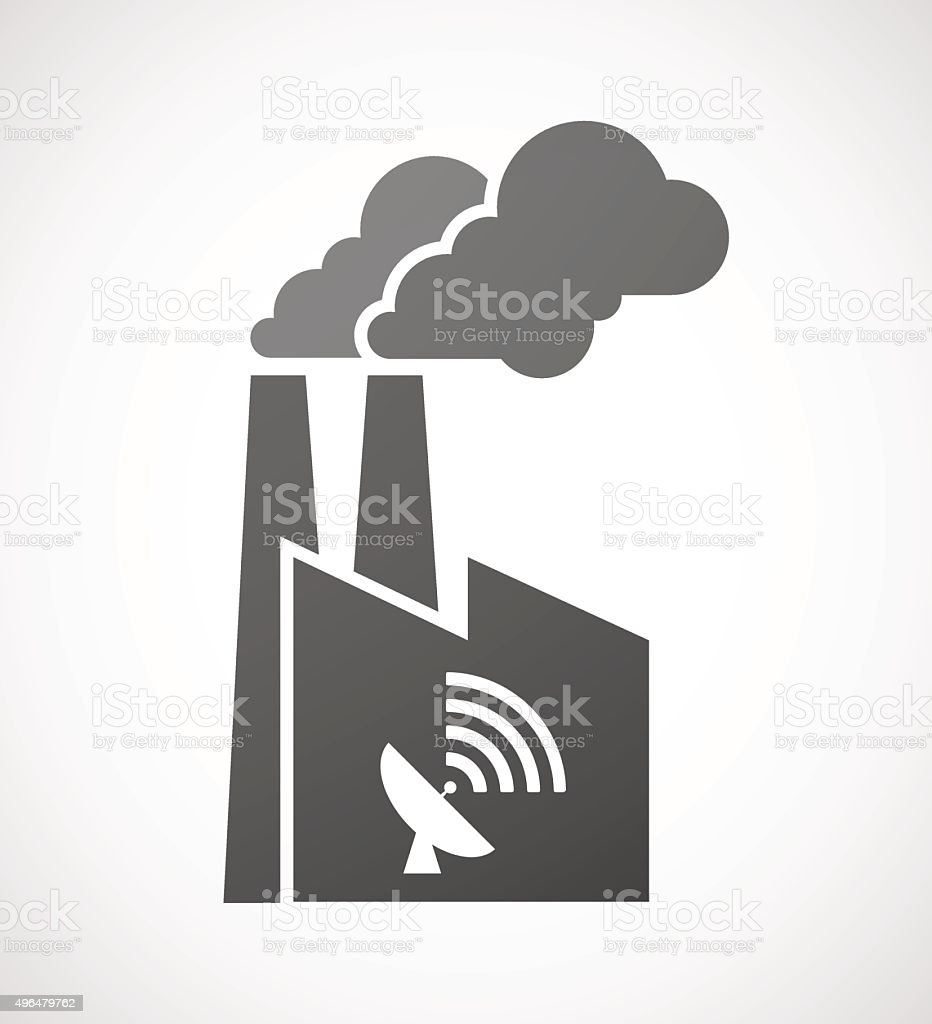 Factory icon with a satellite dish vector art illustration