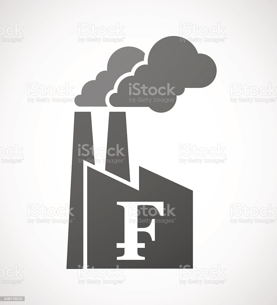 Factory icon with a swiss franc sign vector art illustration