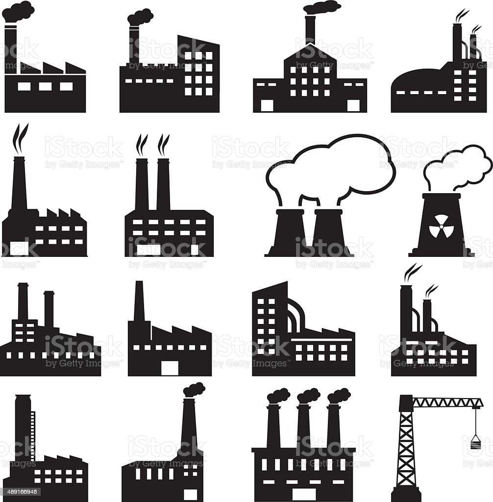 Factory Icons vector art illustration