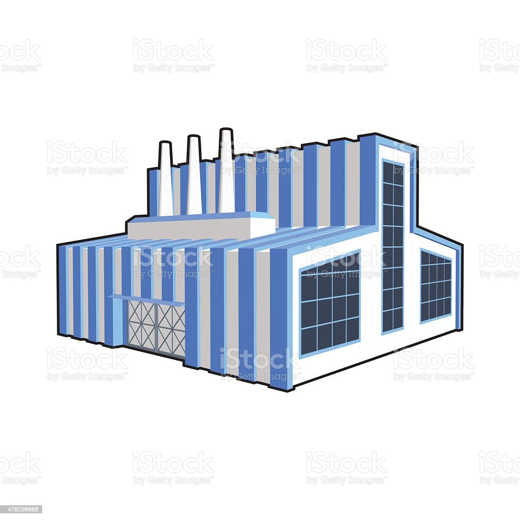 Factory in isometric projection. vector art illustration