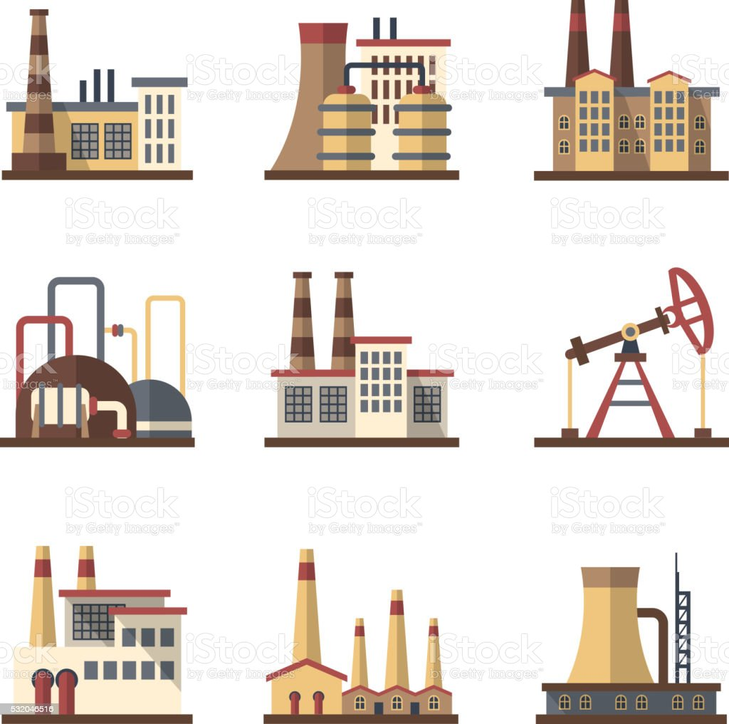 Factory industrial building and manufacturing plants vector flat icons vector art illustration