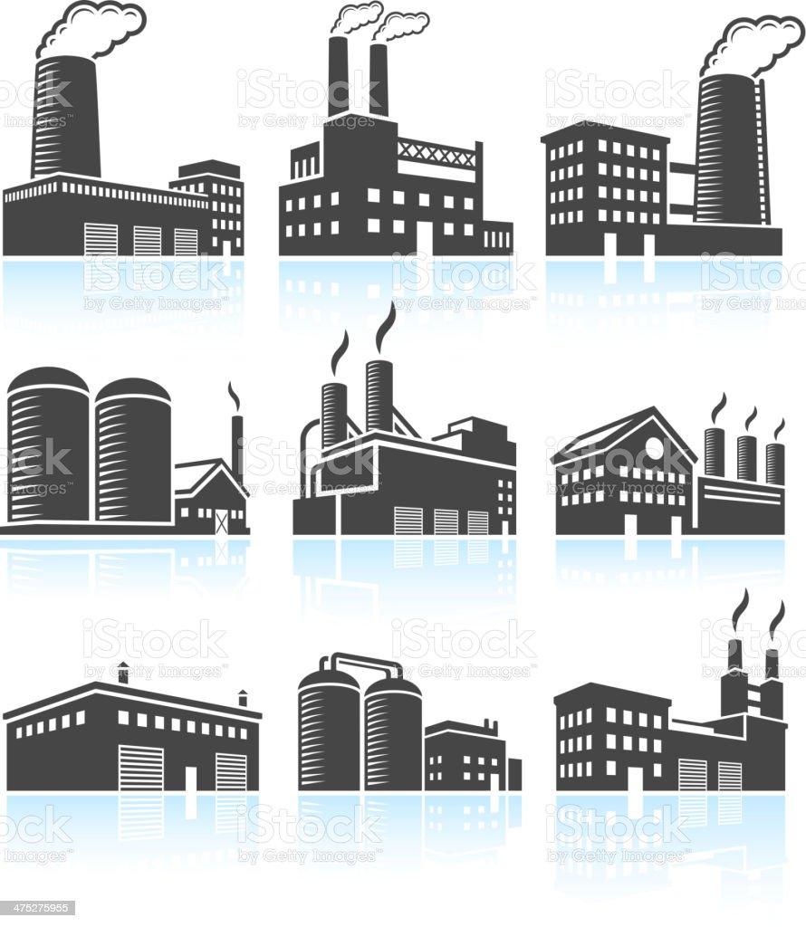 Factory Industrial Power Plant Buildings black & white icon set vector art illustration