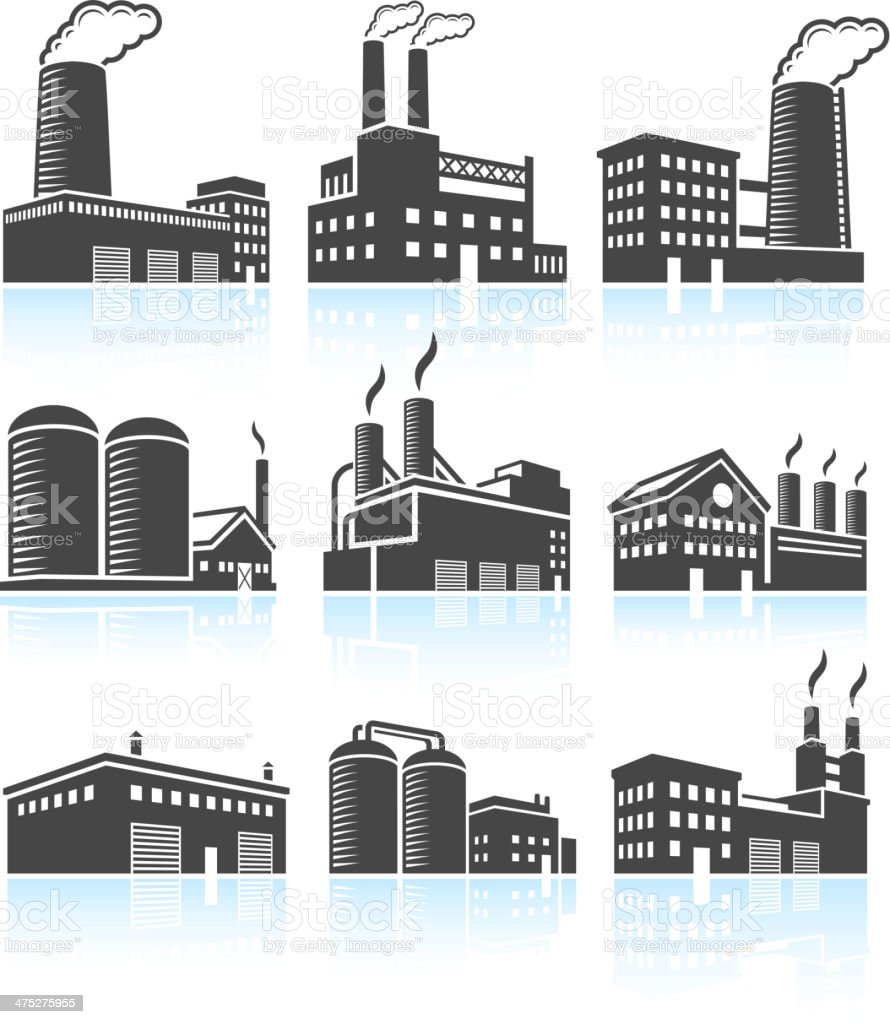 Factory Industrial Power Plant Buildings black & white icon set vector art illustration