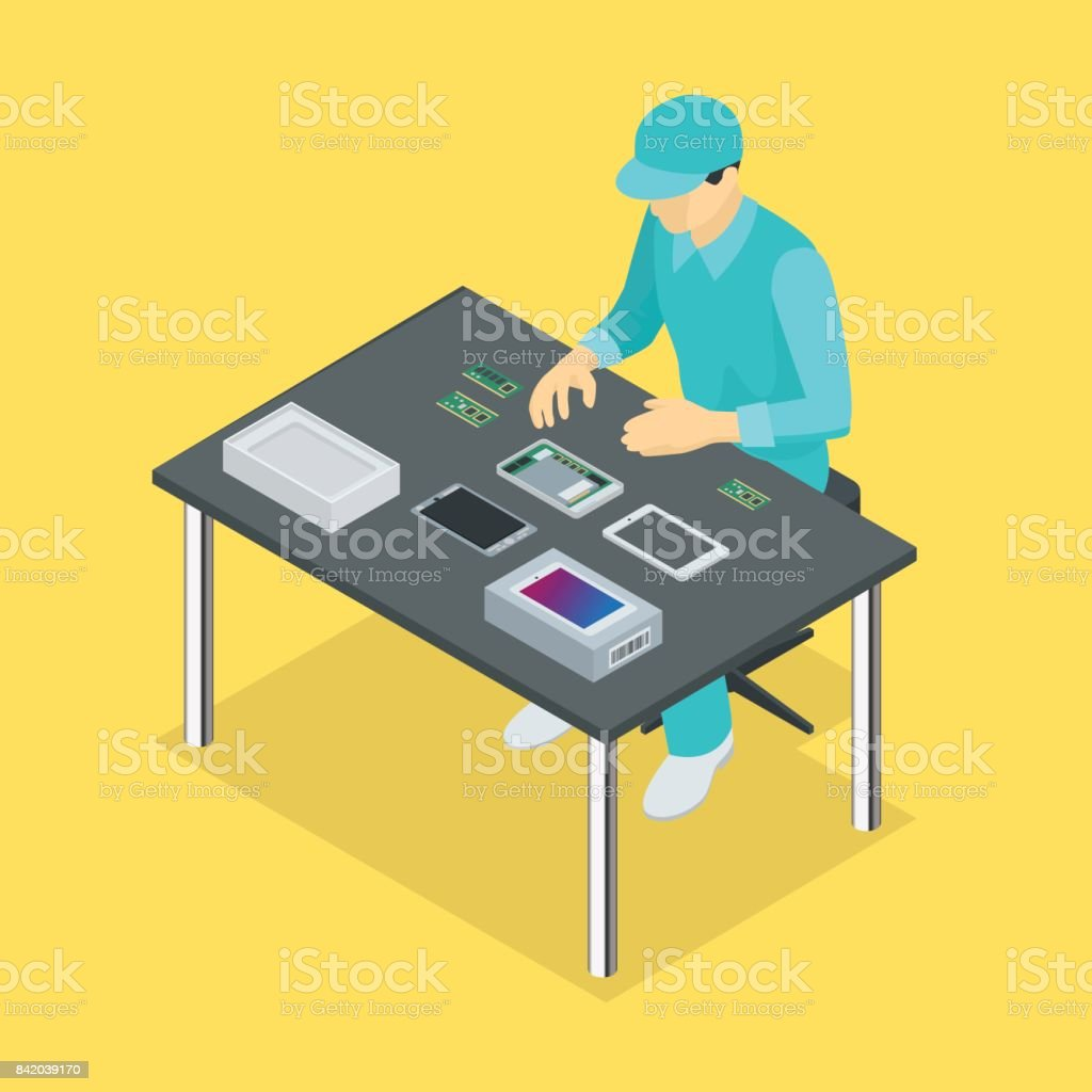 Factory Manual assembly line with works and conveyor belt controlled manufacturing process isometric poster vector illustration vector art illustration