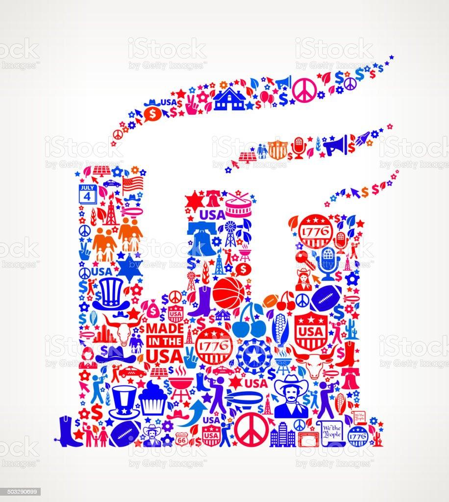 Factory on U.S.A Icon Pattern vector art illustration