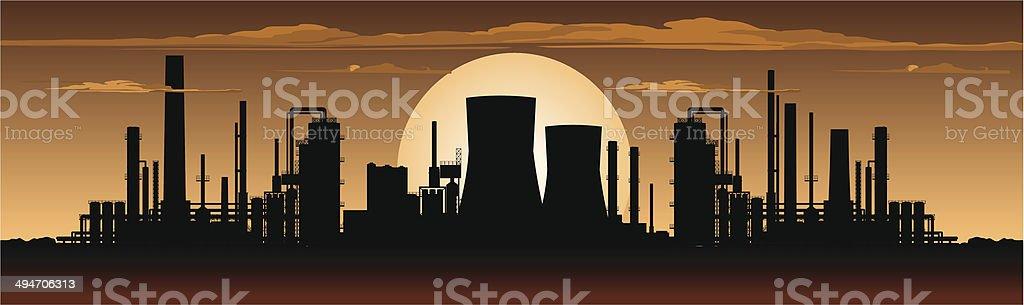 Factory Panorama at Night vector art illustration