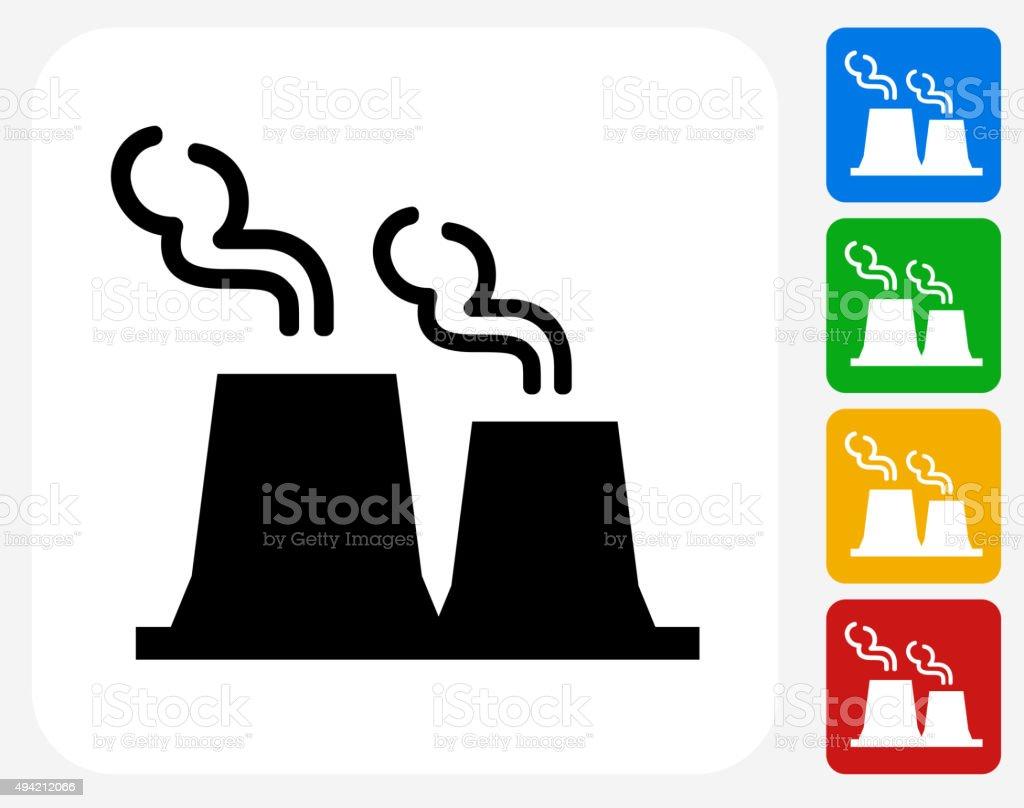 Factory Plant Icon Flat Graphic Design vector art illustration
