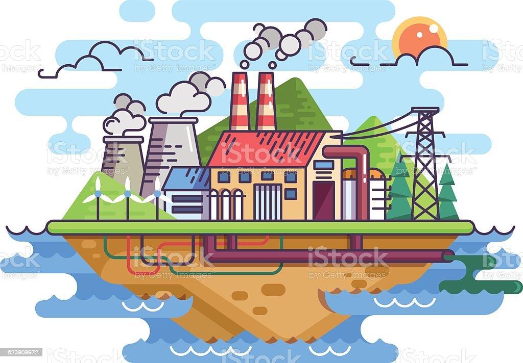 Factory plant on island vector art illustration