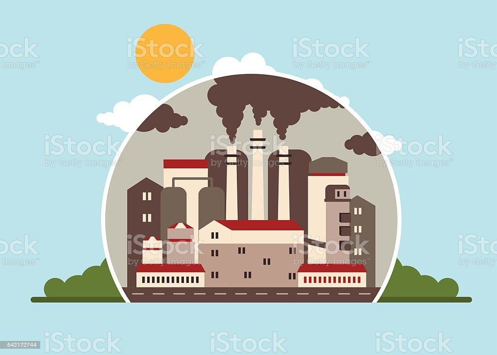 factory polluting atmosphere vector art illustration