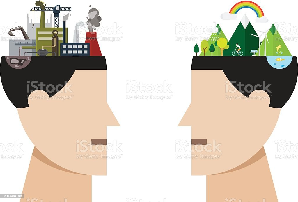factory pollution and green city concept vector art illustration