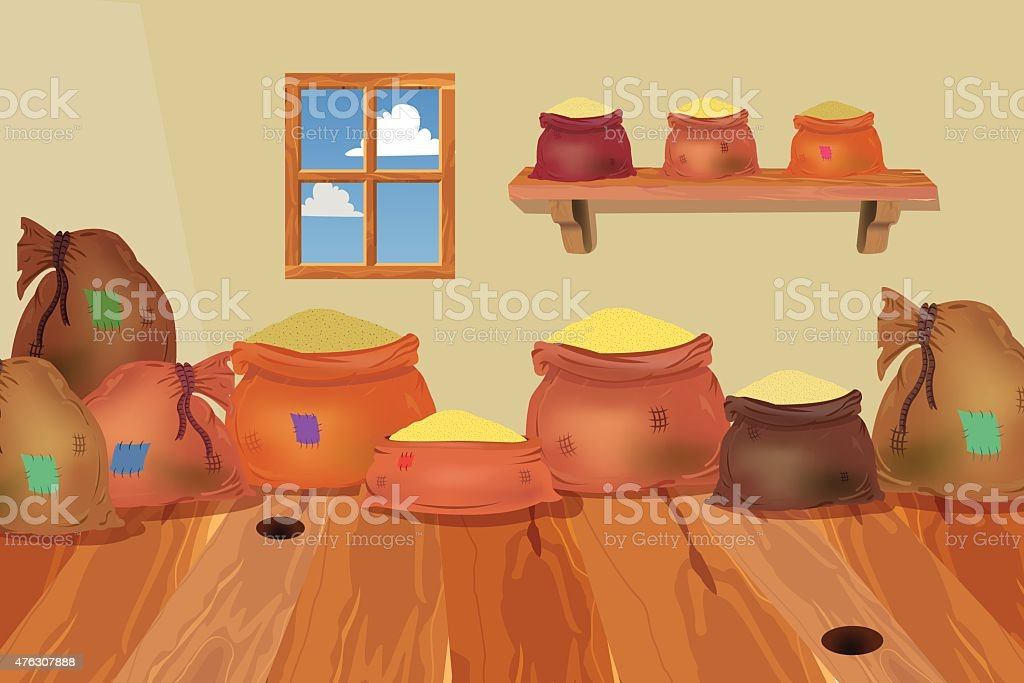 Factory room filled with sacks vector art illustration