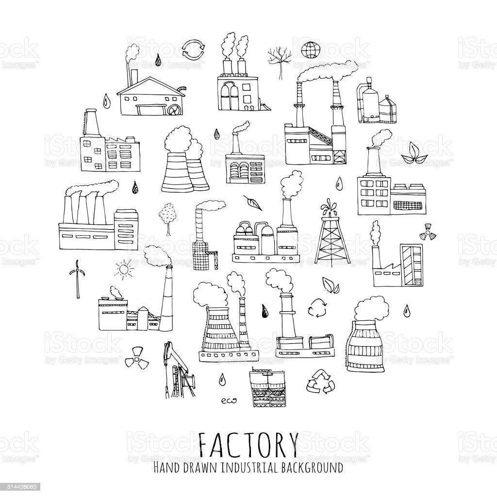 Factory set vector art illustration