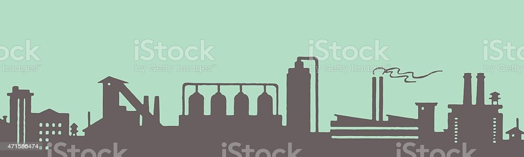 A factory silhouette icon on a turquoise background vector art illustration
