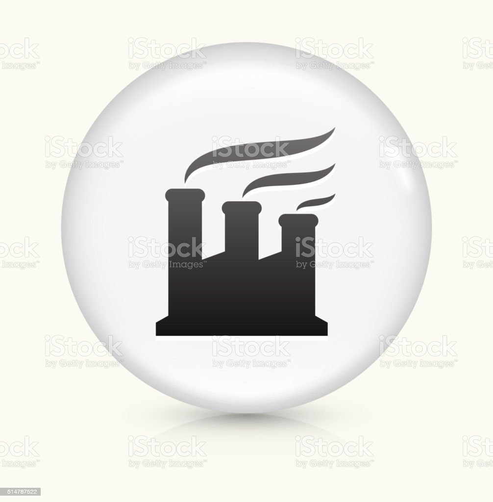 Factory Smoking icon on white round vector button vector art illustration