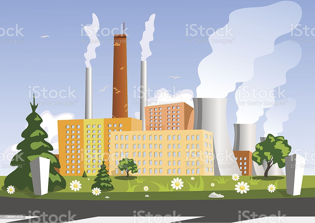 Factory, vector illustration royalty-free stock vector art