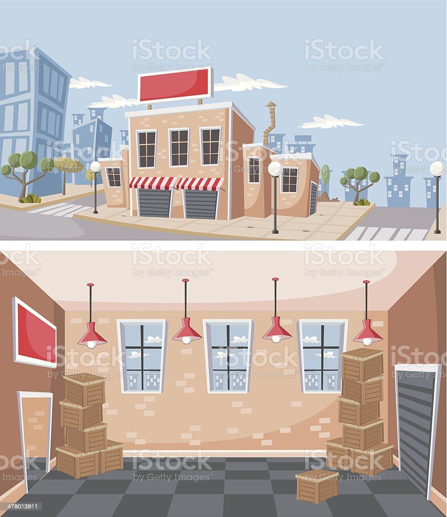 Factory warehouse royalty-free stock vector art
