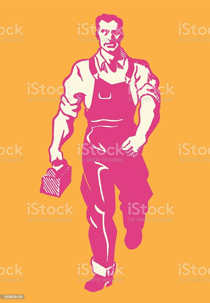 Factory Worker Walking to Lunch vector art illustration