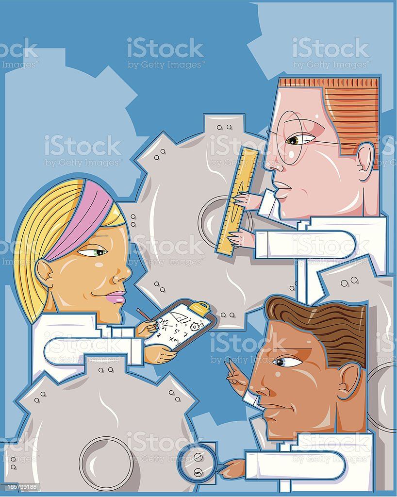 Factory workers vector art illustration