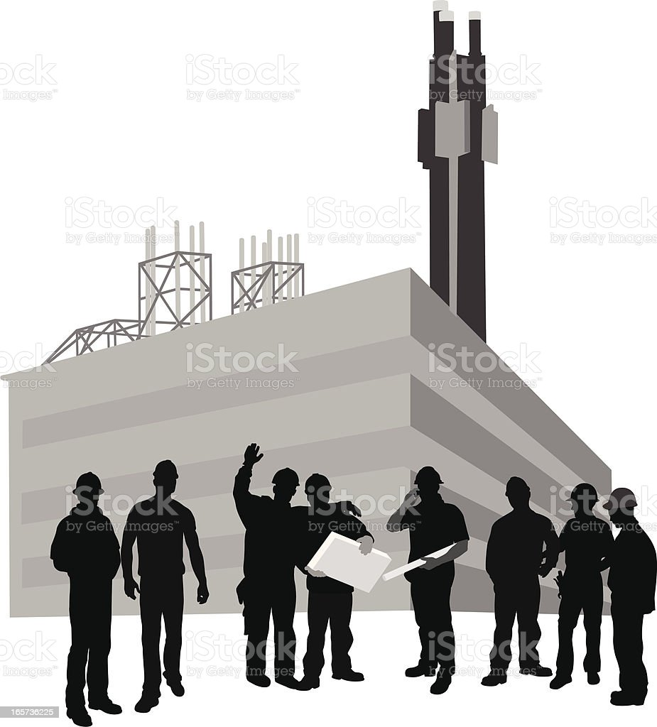 Factory Workers Vector Silhouette royalty-free stock vector art