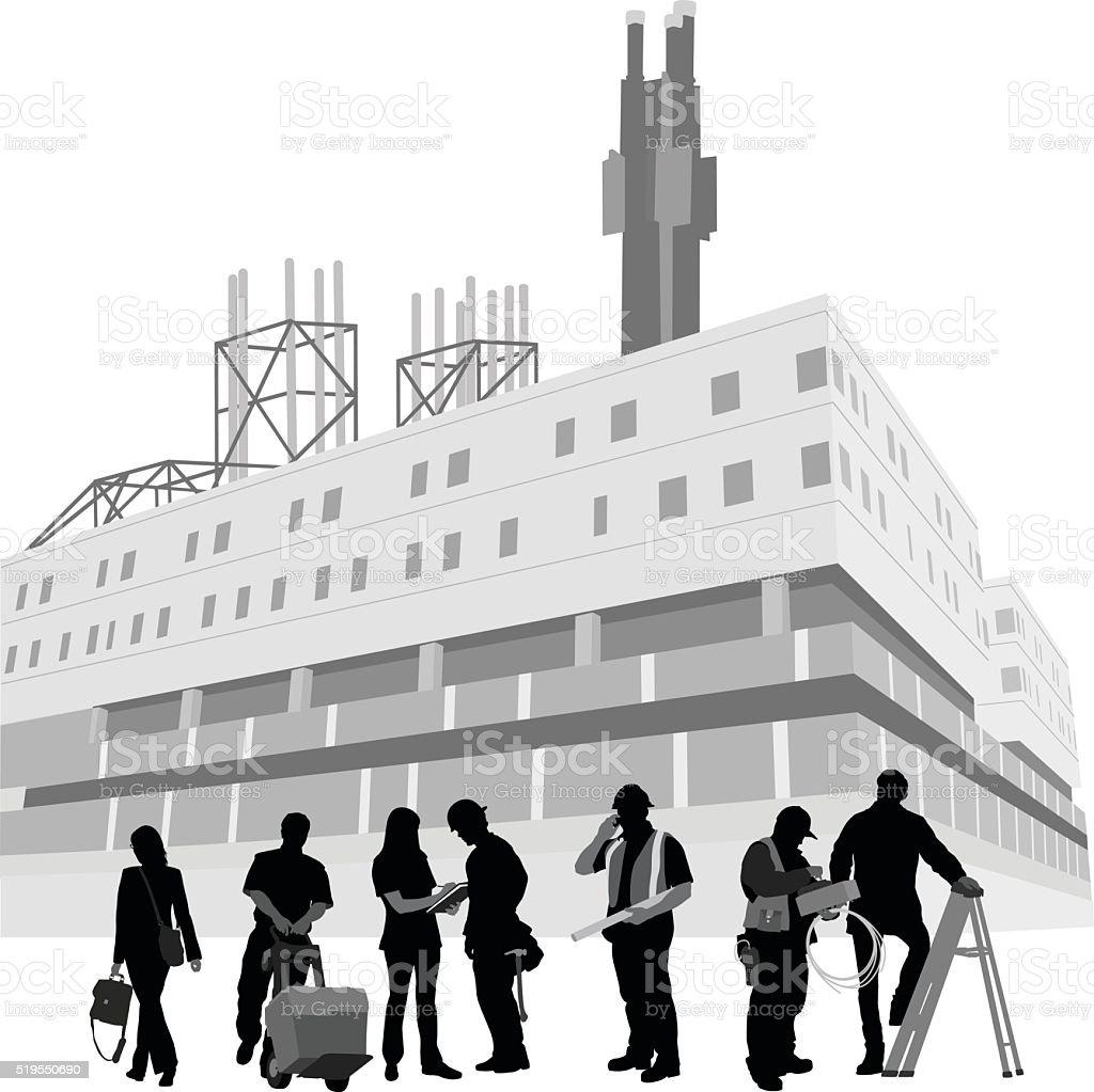Factory Workforce vector art illustration
