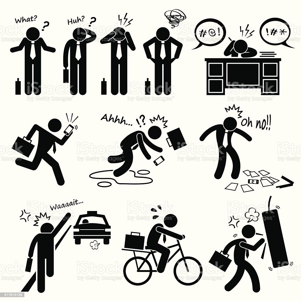 Fail Businessman Emotion Feeling Action Stick Figure Pictogram Icons vector art illustration