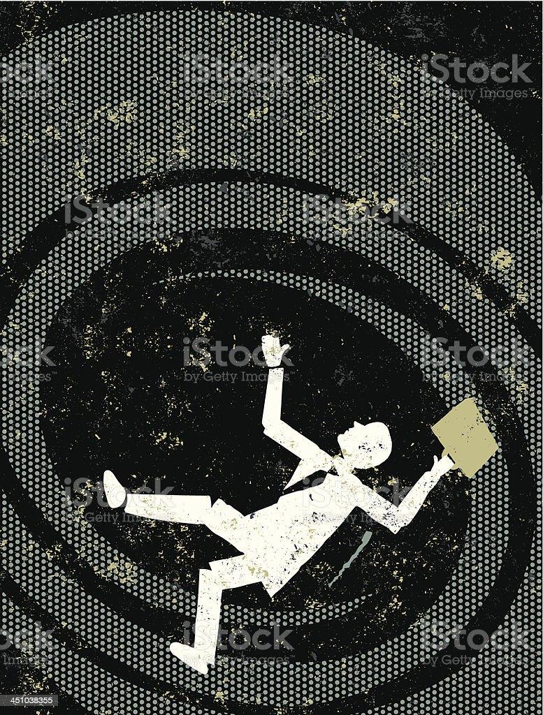 Failing Business Man Falling Down a Vortex vector art illustration