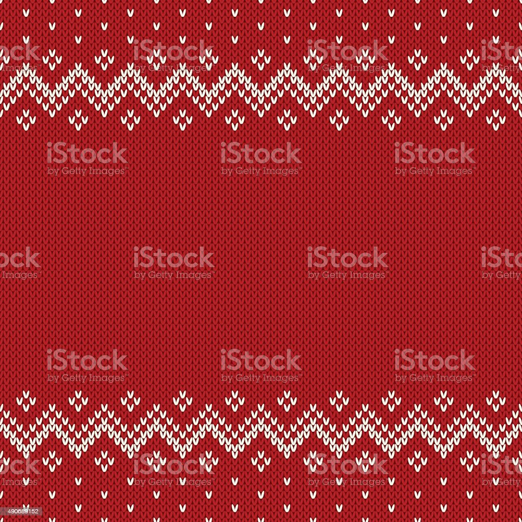 Fair Isle Style Seamless Knitted Pattern. Christmas Background w vector art illustration