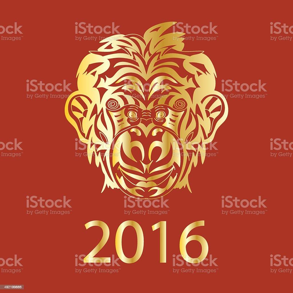 Fair Monkey 2016 year symbol golden vector art illustration
