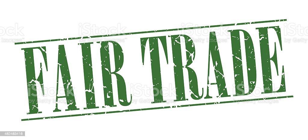 fair trade green grunge vintage stamp isolated on white background vector art illustration