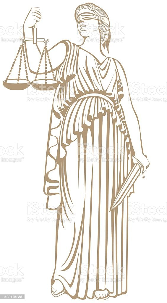 fair trial   Law .lady justice Themis vector art illustration
