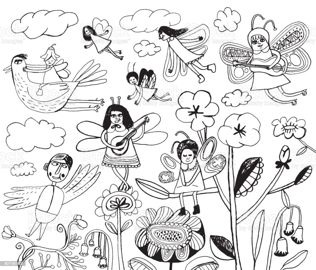 Fairies, butterflies, birds and flowers vector art illustration