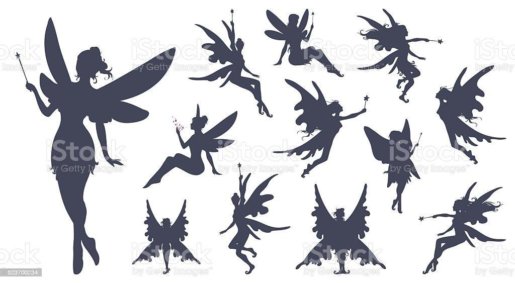Fairies silhouette collection. vector art illustration